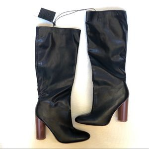 Forever 21 Black Faux Leather Knee High Boots